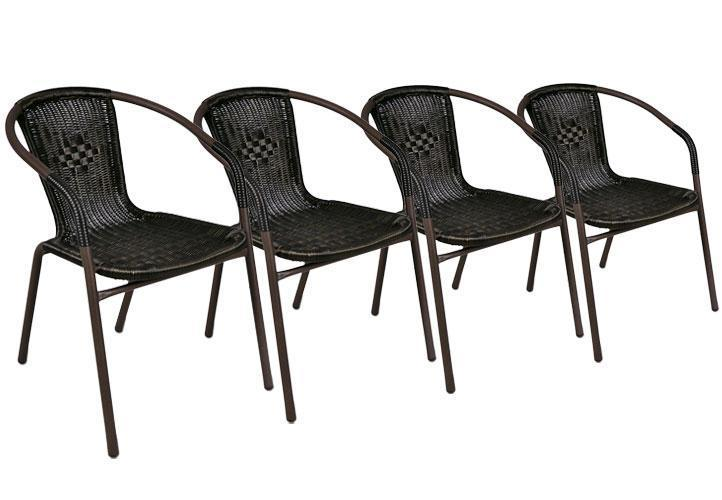 4 x chaises bistrot poly rotin empilable francky shop com. Black Bedroom Furniture Sets. Home Design Ideas