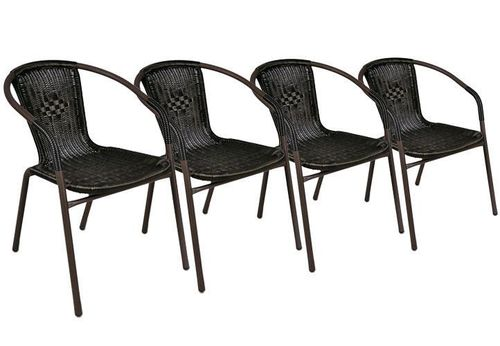 4 x chaises Bistrot poly rotin empilable