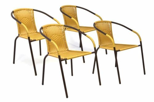 4 x chaises Bistrot poly rotin beige empilable