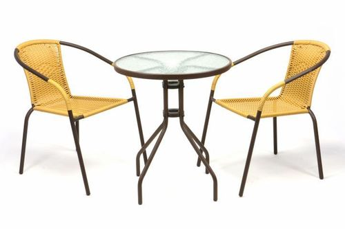 2 chaises Bistrot empilable beige + table ronde verre