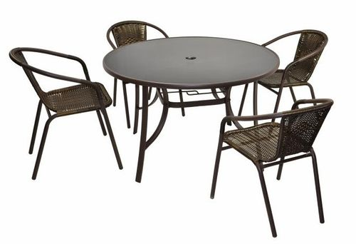 4 chaises Bistro empilable + table ronde verre Ø 120 cm