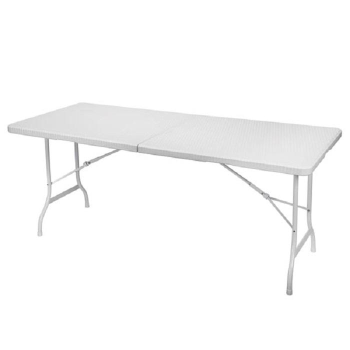 table pliante imitation rotin 180 x 75 x 74 cm blanche francky shop com. Black Bedroom Furniture Sets. Home Design Ideas