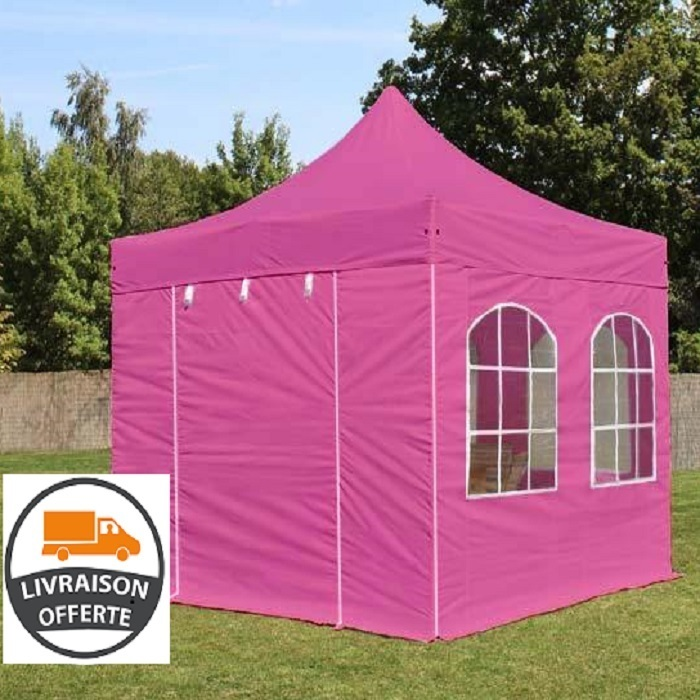 tente pliante 3x3 m pro alu hexagonal 40 mm avec 2 c t s 2 x 2 fen tres pink francky shop com. Black Bedroom Furniture Sets. Home Design Ideas