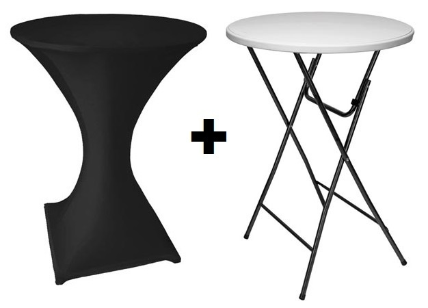 table pliante mange debout 80 cm housse noir francky. Black Bedroom Furniture Sets. Home Design Ideas