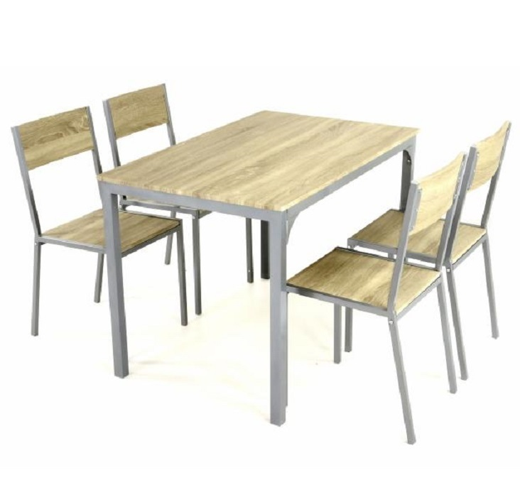 4 chaises bistro bois table manger 110 cm francky for Dimension table de cuisine