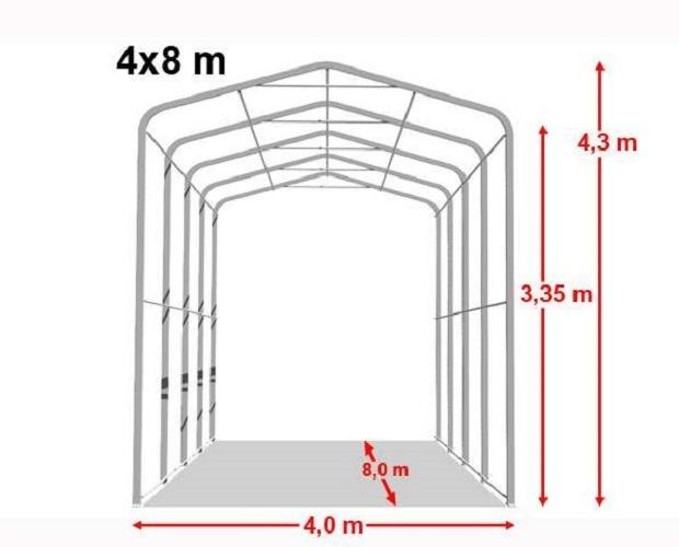 Abri 4x8m porte 3 5x3 5m toile pvc de 550 g m gris for Store exterieur 5x3