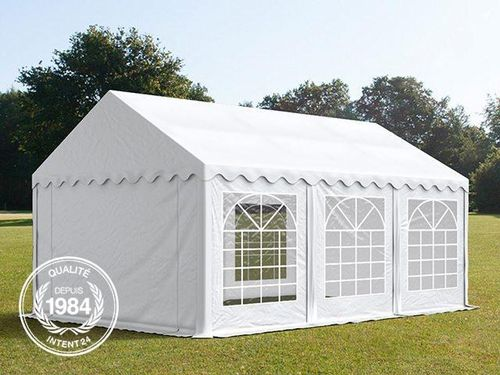 4x6m tente réception, PVC, H. 2,0m, blanc eco