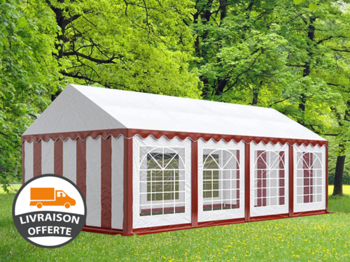 4x8m tente réception, PVC, H. 2,0m, rouge-blanc eco