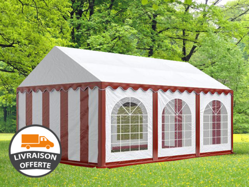 4x6m tente réception, PVC, H. 2,0m, rouge-blanc