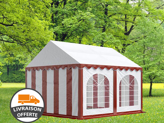 4x4m tente réception, PVC, H. 2,0m, rouge-blanc