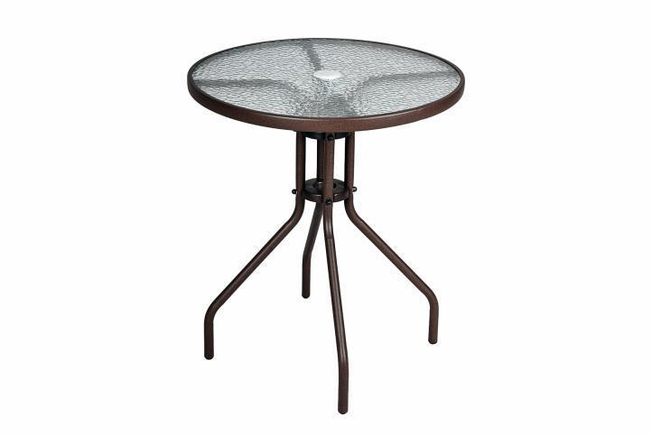 2 chaises Bistro empilable + table ronde verre francky