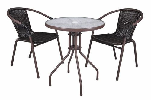 2 chaises Bistro empilable + table ronde verre