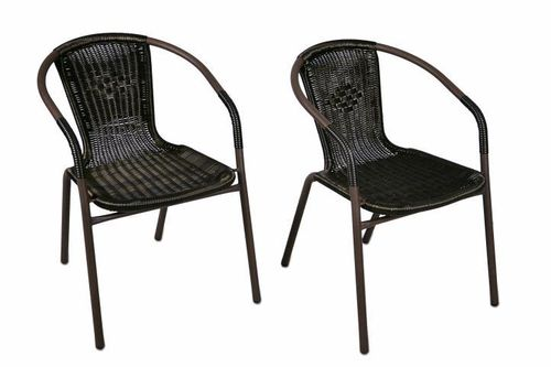2 x chaises Bistro poly rotin empilable