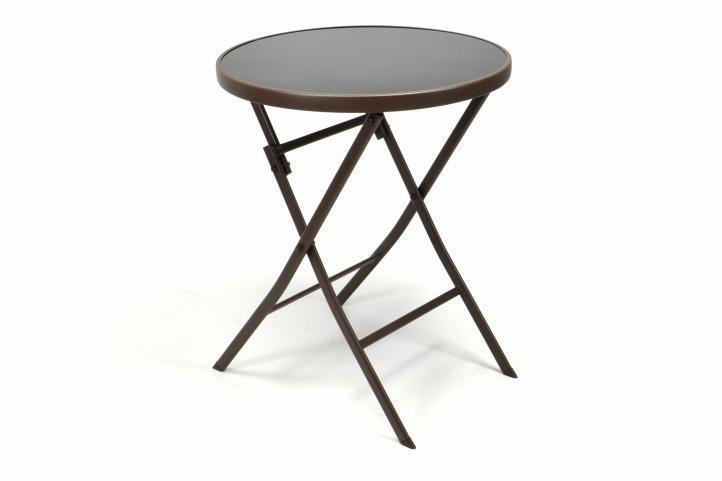 2 chaises Bistro empilable + table pliante ronde verre