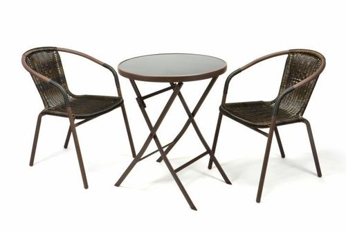 2 chaises Bistro empilable + table pliante ronde verre