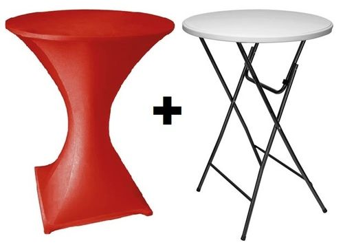 Table pliante mange debout- ø 80 cm housse Rouge