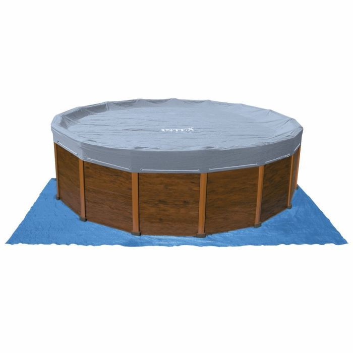 Intex sequoia piscine tubulaire ronde aspect bois 4 78 x 1 for Piscine aspect bois