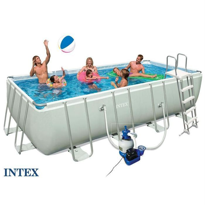 Intex piscine ultra silver intex 5 49 x 2 74 x 1 32 m - Piscine rectangulaire hors sol intex ...