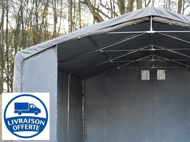tente de stockage 6x6m h 3m porte 4x3 3m toile pvc de 720 g m anti feu vert fonc. Black Bedroom Furniture Sets. Home Design Ideas