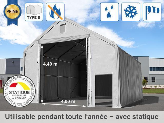 8x12m Hangar Porte 4x4 4m Toile Pvc De 720 G M Anti Feu Gris