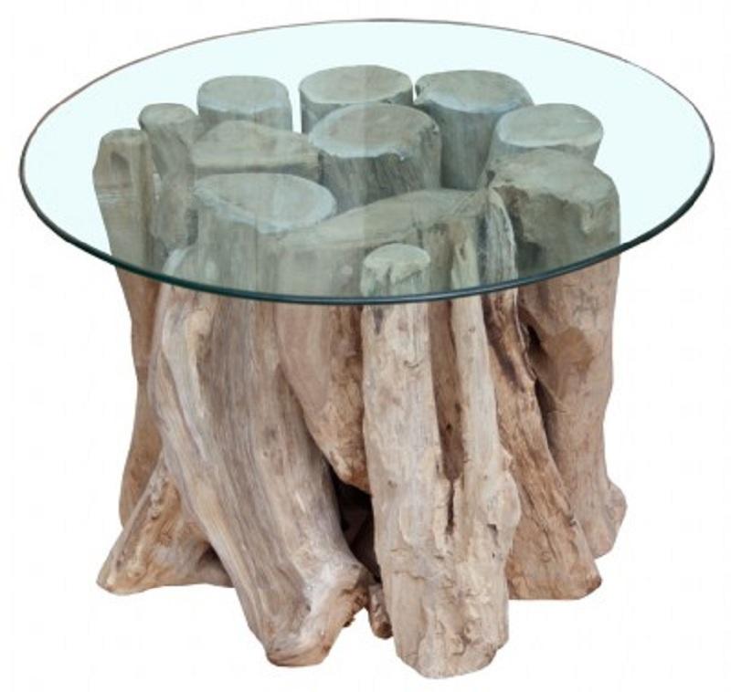 Table Basse Design Ronde 60 Cm Bois Flotte De Teck Massif