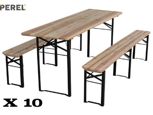 10  TABLES BRASSERIE - AVEC 20 BANCS - 220 x 80 x 76 cm
