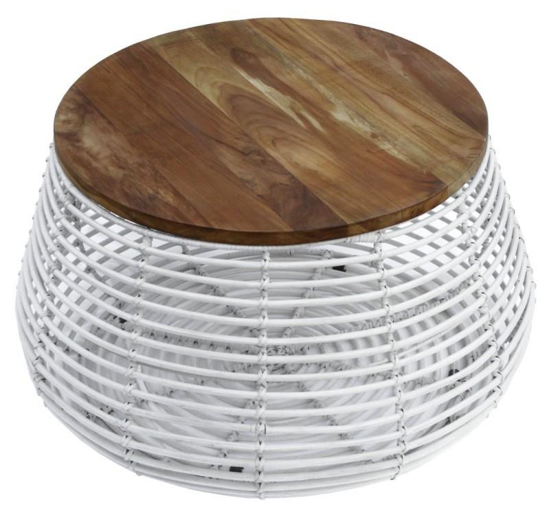 Table Basse Ronde En Rotin Blanc Et Son Plateau En Teck Style Ethnique