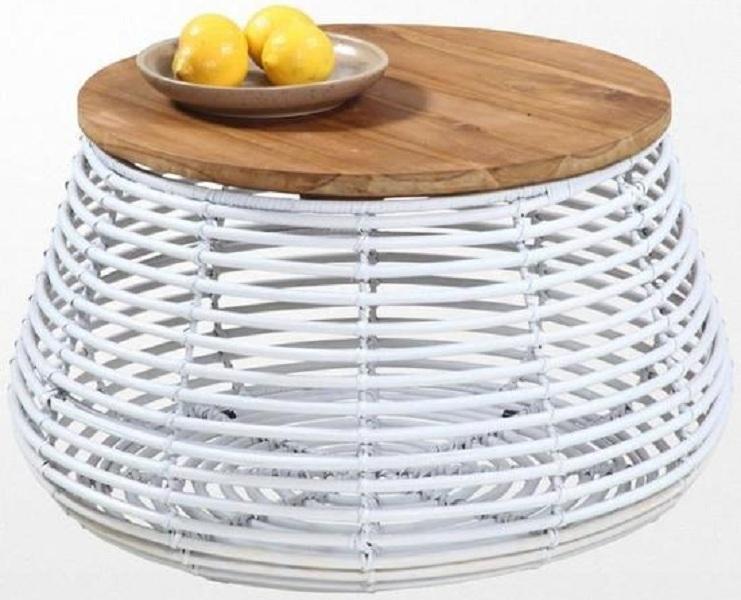 regarder 56aaf cc194 Table basse ronde en rotin blanc et son plateau en teck style ethnique
