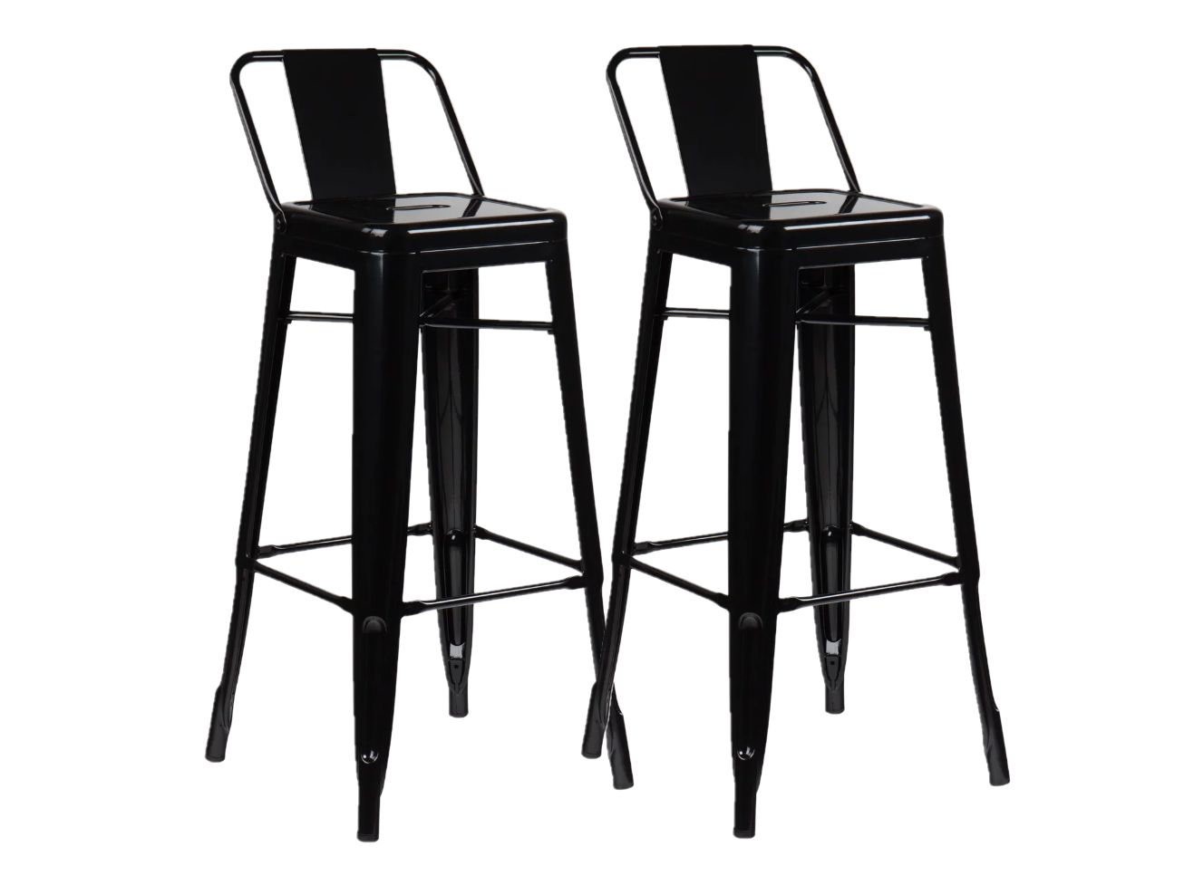 Lot de 2, Tabourets de bar métal industriel Noir